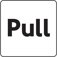 Pull  100x100mm Acrylic Safety Sign