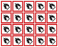 40x40mm Flammable GHS Symbols on a sheet