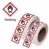 100x100mm Oxidising GHS Symbols on a roll