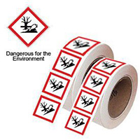 100x100mm Dangerous for the Environment GHS Symbols on a roll