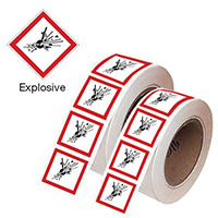 100x100mm Explosive GHS Symbols on a roll