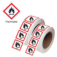 100x100mm Flammable GHS Symbols on a roll