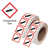 50x100mm Compressed Gas GHS Symbols on a tape