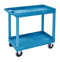 Plastic Multi Purpose Trolley Service Trolley - 2 Storage Trays  Blue