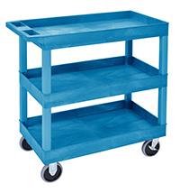 Plastic Multi Purpose Trolley Service Trolley - 3 Storage Trays  Blue