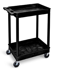 Super Strength Plastic Multi Purpose Trolleys - Deep 2 Shelf Trolley - Black