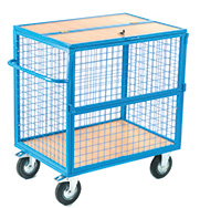Security Trolley - Mesh With Timber Deck