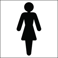 150x150mm Ladies Toilet symbol - rigid