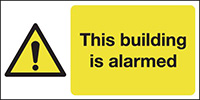 This Building Is Alarmed  100x250mm 1.2mm Rigid Plastic Safety Sign
