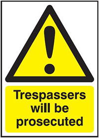 Thumbnail Trespassers Will Be Prosecuted 297x210mm 1.2mm Rigid Plastic Safety Sign