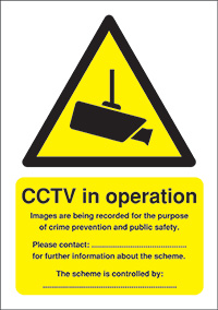 CCTV in Operation  Data Protection Act  210x148mm 1.2mm Rigid Plastic Safety Sign