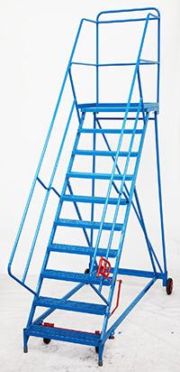 Fort Wide Tread Blue  Trojan  Mobile Step -  11 Step - Mesh - Std Slope