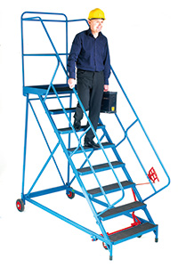 Fort Wide Tread Blue  Trojan  Mobile Step -  12 Step - Mesh - Easy Slope