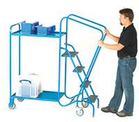 GS Approved Order Picking Trolley - 3 Steps  2 Steel Trays
