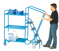GS Approved Order Picking Trolley - 4 Steps  3 Steel Trays