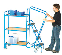 GS Approved Order Picking Trolley - 3 Steps  2 Plywood Trays