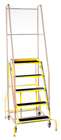 Fort  Duplex  Weight Reactive Mobile Steps - Certifed to BS EN 131 Professional -  6 Step - Yellow Inner Frame - Phenolic Treads