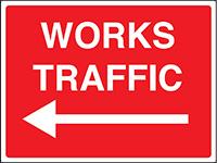 450x600mm Works traffic arrow left stanchion sign
