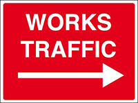 450x600mm Works traffic arrow right stanchion sign