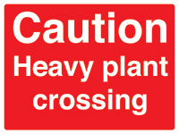 450x600mm Caution Heavy plant crossing stanchion sign