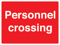 450x600mm Personnel crossing stanchion sign