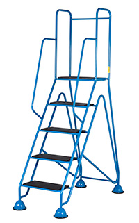 The Fort Easy Glide Range of Mobile Domed Feet Steps - 5 Tread - Injected Moulded Treads