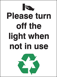 Thumbnail Please turn off the lights when not in use  100x75mm 1.2mm Rigid Plastic Safety Sign