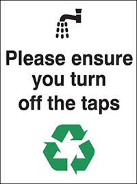 Please ensure you turn off the taps  100x75mm Self Adhesive Vinyl Safety Sign