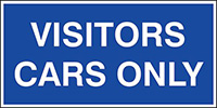 Visitors cars only  300x600mm 1.2mm Rigid Plastic Safety Sign
