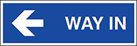 Way in arrow left  150x450mm 1.2mm Rigid Plastic Safety Sign