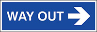 Way out arrow right 150x450mm 1.2mm Rigid Plastic Safety Sign
