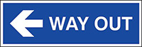 Way out arrow left  150x450mm 1.2mm Rigid Plastic Safety Sign