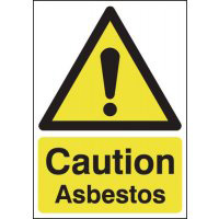 Caution Asbestos 210x148mm 1.2mm Rigid Plastic Safety Sign