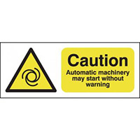 Caution Automatic Machinery May Start 100x250mm Magnetic Safety Sign