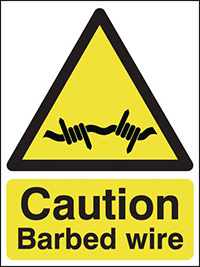 Thumbnail Caution Barbed Wire 210x148mm 1.2mm Rigid Plastic Safety Sign