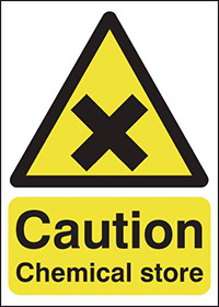 Thumbnail Caution Chemical Store 125x125mm Self Adhesive Vinyl Safety Sign
