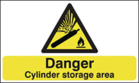 Thumbnail Danger Cylinder Storage Area 420x297mm 1.2mm Rigid Plastic Safety Sign