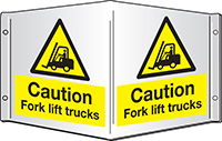 Caution Fork lift trucks Projecting 3D Sign 200x400mm  Safety Sign