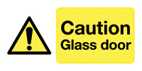Caution Glass Door  50x250mm Self Adhesive Vinyl Safety Sign