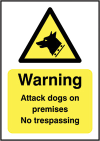 Thumbnail Caution Guard Dogs on Patrol  420x297mm Self Adhesive Vinyl Safety Sign