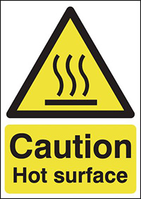 Caution Hot Surface 297x210mm 1.2mm Rigid Plastic Safety Sign