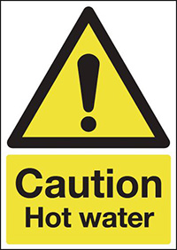 Caution Hot Water 210x148mm 1.2mm Rigid Plastic Safety Sign