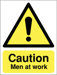 Caution Men at work  400x300mm Reflective Safety Sign