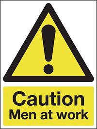 Caution Men at work 297x210mm 1.2mm Rigid Plastic Safety Sign