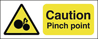 Caution Pinch Point 210x148mm 1.2mm Rigid Plastic Safety Sign