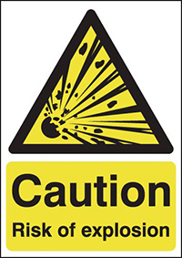Thumbnail Caution Risk of Explosion  297x210mm 1.2mm Rigid Plastic Safety Sign