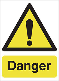 Danger 297x210mm Self Adhesive Vinyl Safety Sign