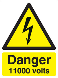 Danger 11000 Volts   150x125mm 1.2mm Rigid Plastic Safety Sign