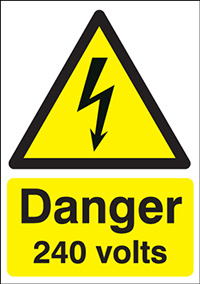 Thumbnail Danger 240 Volts   210x148mm 1.2mm Rigid Plastic Safety Sign