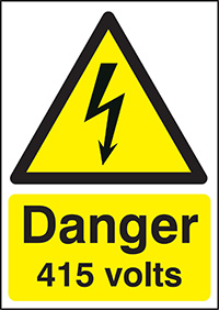 Danger 415 Volts   210x148mm 1.2mm Rigid Plastic Safety Sign